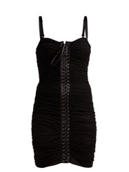 Dolce And Gabbana Ruched Tulle Lace Up Corset Dress Black