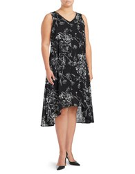 Context Plus Floral Hi Lo Dress Black White