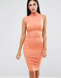 Ax Paris Sleeveless Ruched Midi Dress Peach Pink