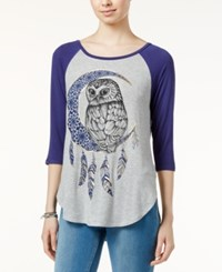 Belle Du Jour Juniors' Owl Graphic Raglan T Shirt Patriot Blue Heather Grey