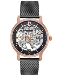 Kenneth Cole New York Automatic Black Stainless Steel Mesh Bracelet Watch 43Mm Black Rose Gold
