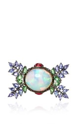 Lydia Courteille Opal Flower Ring Blue