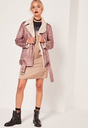 Missguided Classic Pilot Jacket Rose