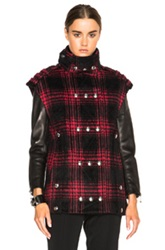 Alexander Wang Brushed Wool Boxy Vest In Red Black Checkered And Plaid