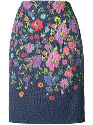Oscar De La Renta Floral Print Pencil Skirt Blue