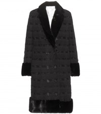 Thom Browne Fur Trimmed Cashmere Coat Black