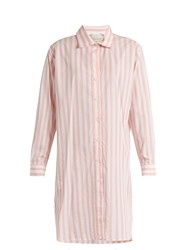 Johanna Ortiz Malpelo Striped Cotton Blend Shirtdress Pink White