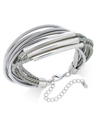 Inc International Concepts Gold Tone Leather And Coil Bracelet Only At Macy's Grey