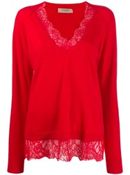 Twin Set Lace Trim Sweater Red