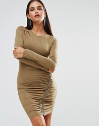 Jessica Wright Long Sleeve Ruched Dress With Zip Detail Khaki Green