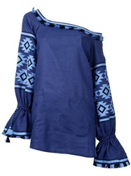 March 11 Off The Shoulder Tunic Blouse Blue