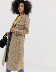 Warehouse Trench Coat In Check Multi