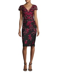 Marchesa Rose Embroidered Cap Sleeve Cocktail Dress Black