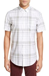 Men's Calibrate Trim Fit Heathered Plaid Sport Shirt