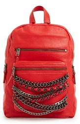 Ash 'Small Domino' Chain Leather Backpack Red Tarnish Silver Gunmetal