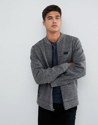 Abercrombie And Fitch Bonded Baseball Sweat Bomber In Grey