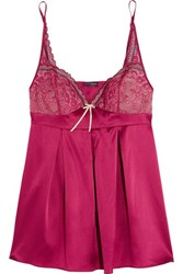 Elle Macpherson Intimates Medina Lace Trimmed Stretch Silk Satin Camisole Red