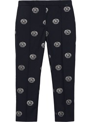 Burberry Crest Detail Wool Cropped Tailored Trousers Blue
