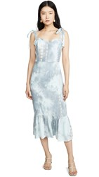 English Factory Tie Dye Fitted Sleeveless Dress Blue