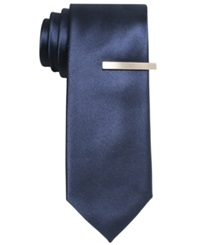 Alfani Red Solid Skinny Tie Navy