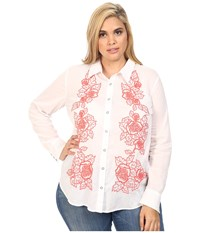 Stetson Plus Size White Voile Long Sleeve Woven Shirt White Women's Clothing