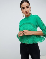 Ax Paris Crop Frill Blouse Green