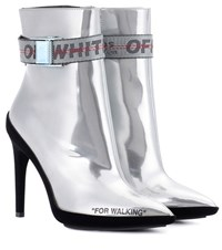 Off White Leather Ankle Boots Silver