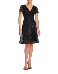 Nue By Shani Short Sleeve Sequined Lace Fit And Flare Dress Black