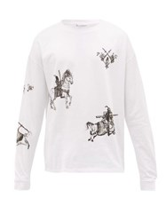 J.W.Anderson Jw Anderson Camelot Print Long Sleeved Cotton Jersey T Shirt White