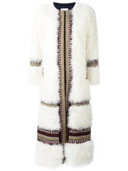 Red Valentino Striped Long Coat White
