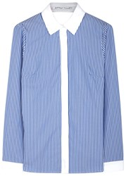 Sandy Liang Enzo Striped Open Back Cotton Shirt Blue And White