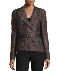 Donna Karan Narrow Belted Jacket Charcoal Auburn