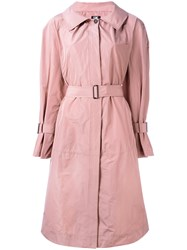 Jil Sander Navy Belted Trench Coat Pink Purple