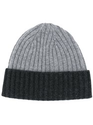 N.Peal Ribbed Knit Beanie Grey