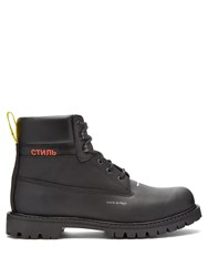 Heron Preston Logo Stamped Lace Up Leather Boots Black