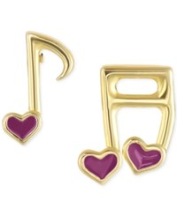 Victoria Townsend Lily Nily Enamel Music Notes Stud Earrings In 18K Gold Over Sterling Silver