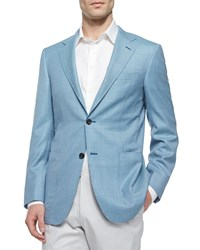Canali Two Button Check Blazer Teal Blue