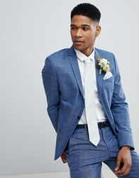 Selected Homme Skinny Fit Suit Jacket In Navy Grid Check Light Blue Check