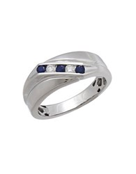 Lord And Taylor 0.14Tcw Diamond Sapphire 14K White Gold Ring