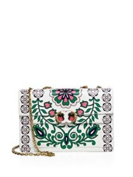 Tory Burch Gemini Link Printed Leather Chain Shoulder Bag Garden Party Green