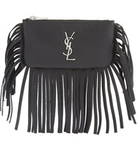 Saint Laurent Monogram Fringed Leather Key Pouch Black