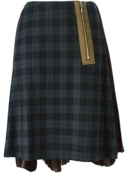 Kolor Pleated Back Plaid Skirt Multicolour