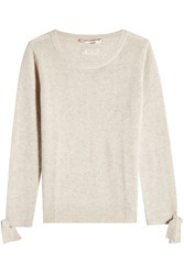 81 Hours Wool And Cashmere Pullover With Ribbon Cuffs Beige