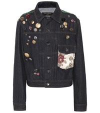 Dolce And Gabbana Embellished Denim Jacket Blue