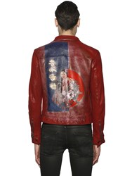 Php Hand Painted Biker Leather Jacket
