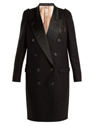 N 21 Contrast Lapel Double Breasted Overcoat Black
