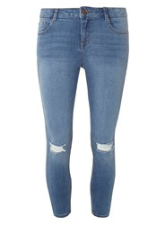 Dorothy Perkins Petite Mid Wash Rip Knee 'Darcy' Jeans Blue