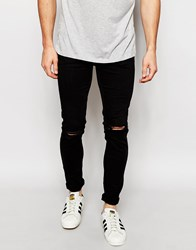 New Look Skinny Jeans With Rips Black