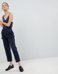 Selected Oversized Turn Up Cuff Trousers Navy