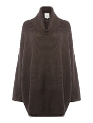 Part Two Stylish Knitted Poncho Brown